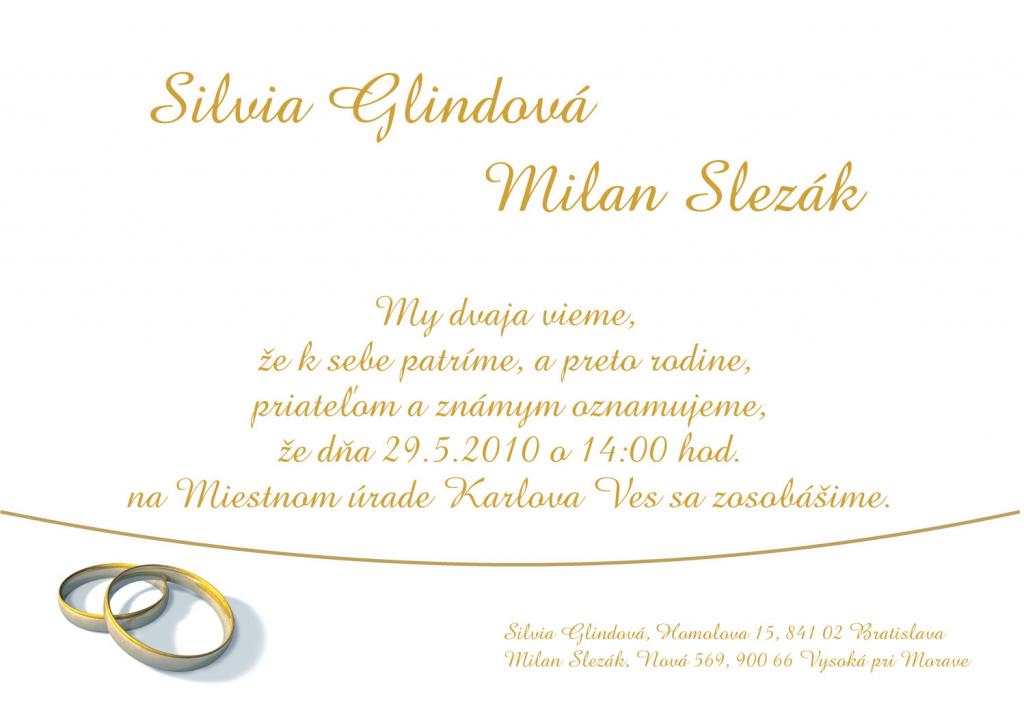 klasické svadobné oznámenie